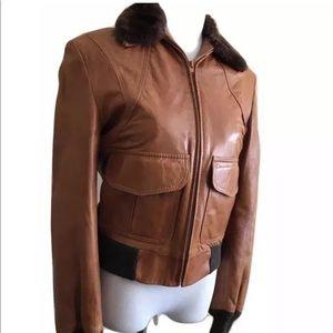 Vtg leather bomber flight jacket faux fur
